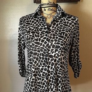 Ms Bella D Blouse Animal Print Sheer Stretch